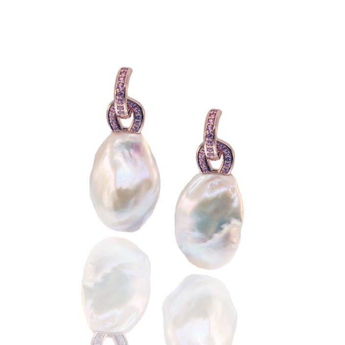 Pink Sapphire, Pearl, Dangles, Earrings, Custom
