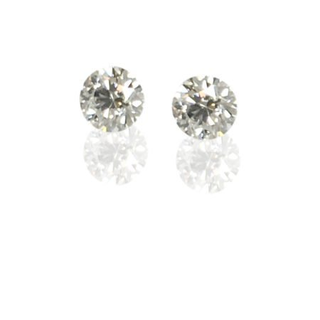 14 K White Gold, Diamond Stud Earrings, 4 Prong Basket Set, Screw Backs