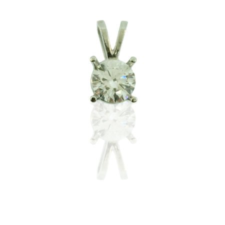 Diamond Solitaire Pendant, Rabbit Ear Setting, Four Prong Setting, 14 K White Gold