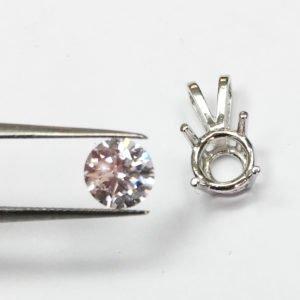 Diamond Solitaire Pendant, Rabbit Ear Setting, Four Prong Setting, 14 K White Gold