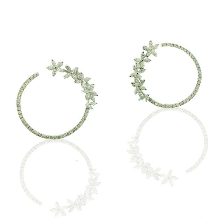 hoops, Marquise Cut, natural round brilliant diamonds, flower petal design, friction back