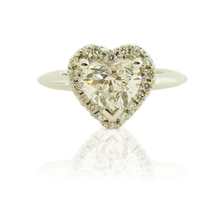 platinum, heart shaped diamond, gia certified, natural round brilliant diamonds, custom engagement rings, knife edge shank, halo design
