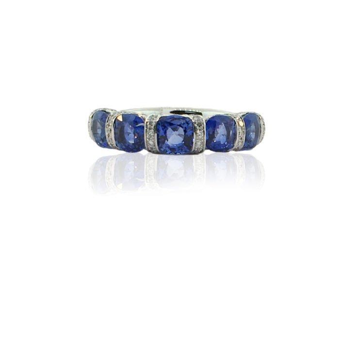 sapphire, white gold, diamond, u-shape, multi-stone band