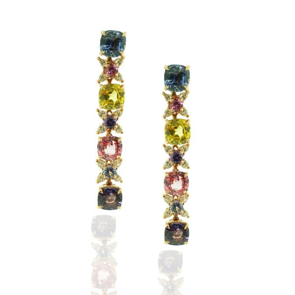 Sapphires, Multi-colored sapphire, heat-treated sapphire, earrings, dangling, diamonds, friction backs, 18k rose gold