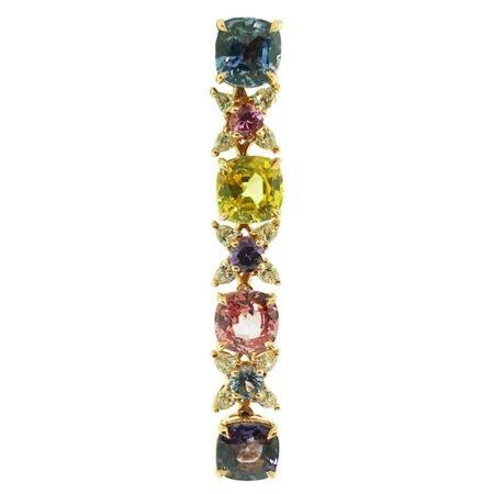 Rubies, Multi-colored sapphire, heat-treated sapphire, earrings, dangling, diamonds, friction backs, 18k rose gold