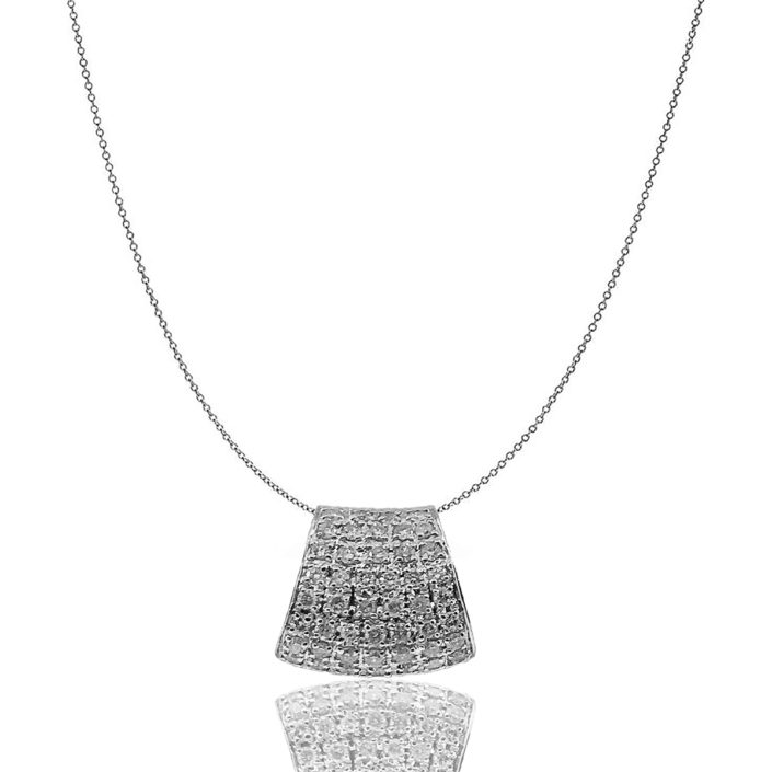 18 K White Gold, Diamond Encrusted Pendant, Purse Shaped, Natural Round Diamond, GIA Rated, Gift, Unique