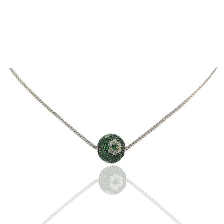 Emerald, Diamond, Ball, Pendant, Diamond Flower, Herringbone Chain