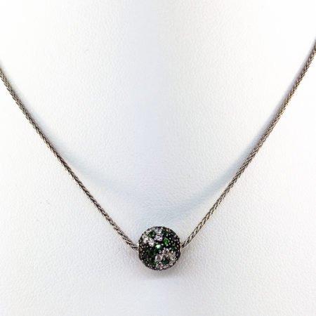 Emerald, Diamond, Ball, Pendant, Diamond Flower, Herringbone Chain