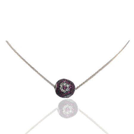 Ruby, Diamond, Ball, Pendant, Diamond Flower, Herringbone Chain