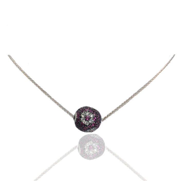 Ruby, Diamond, Ball, Pendant, Diamond Flower, Herringbone Chain