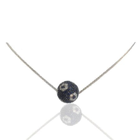 18K White Gold, Sapphire & Diamond Ball Pendant on White Gold Herringbone Chain with Spring Ring Clasp