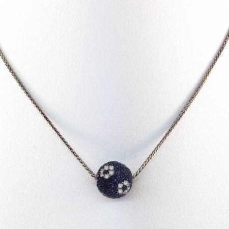 18K White Gold, Sapphire & Diamond Ball Pendant on White Gold Herringbone Chain with Spring Ring Clasp