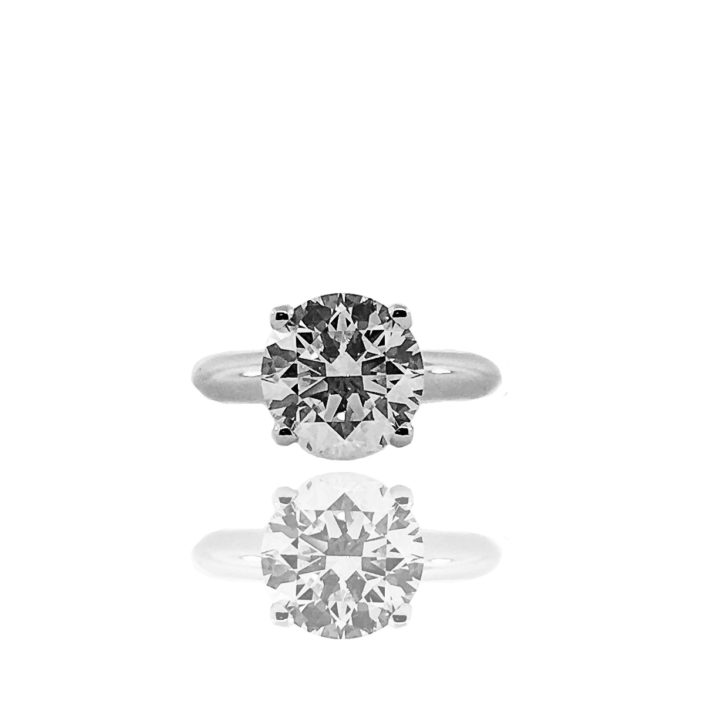 Diamond, Platinum, Solitaire, Custom Engagement Ring, 4 Prong, Knife Edge