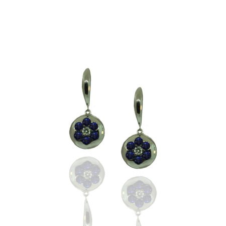 Heat treated sapphire, natural diamond, white gold, earrings, flower design, puffed circles