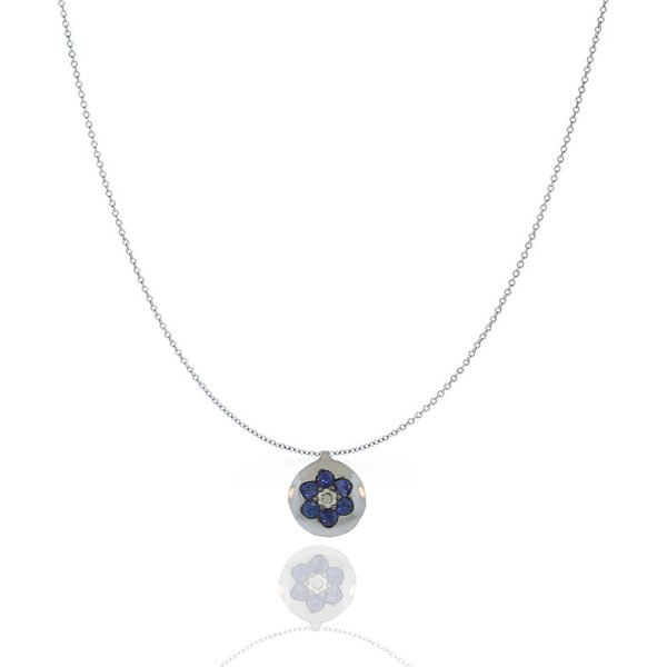 Sapphire, Diamond, Pendant, Diamond, Flower, White Gold