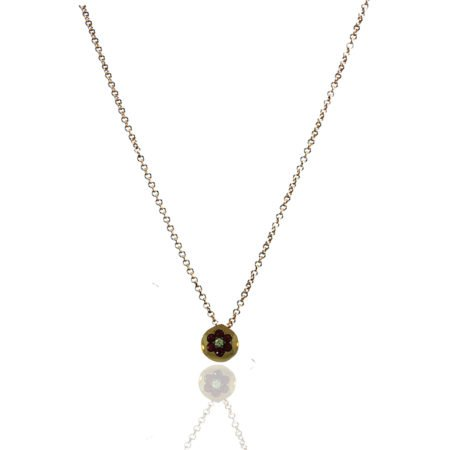 Rubies, Diamond, Pendant, Diamond, Flower, Yellow Gold
