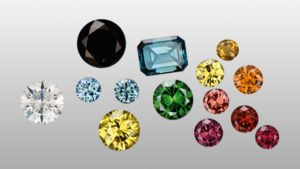 Colorless and other diamonds (left) can be artificially irradiated causing a variety of colors. Some of the irradiated colors are then heated as a second step, resulting in additional colors (group right).