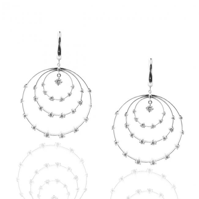 14 K White Gold and Diamond Solar System Earrings