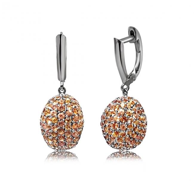 Orange Sapphire Egg Earrings Feature Jpg
